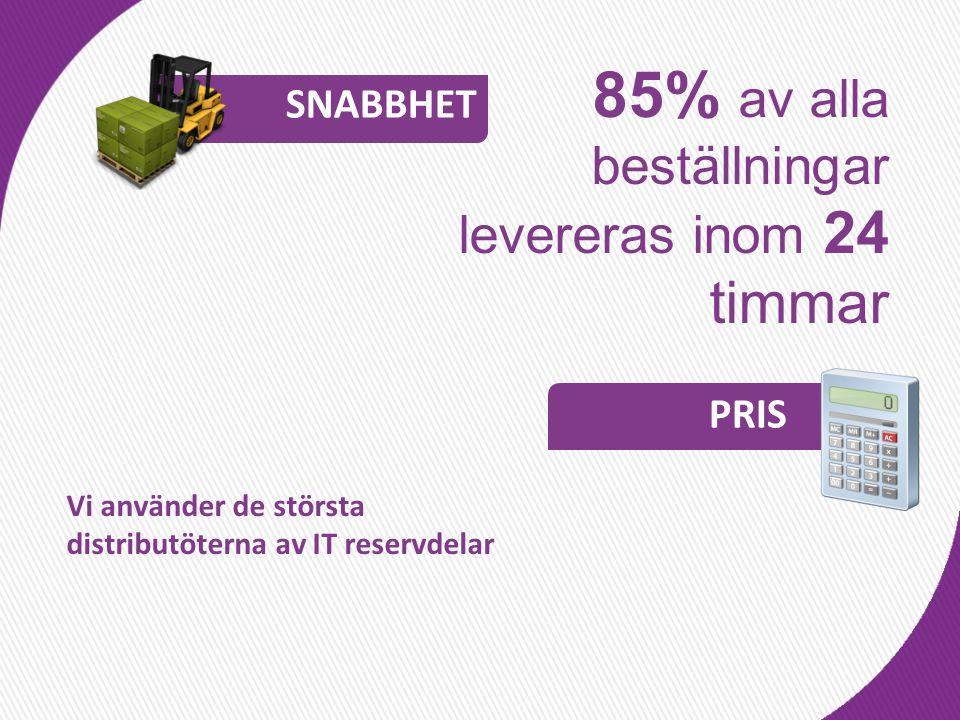 85% av alla beställningar levereras inom 24 timmar Vi använder de största distributöterna av IT reservdelar SNABBHET PRIS
