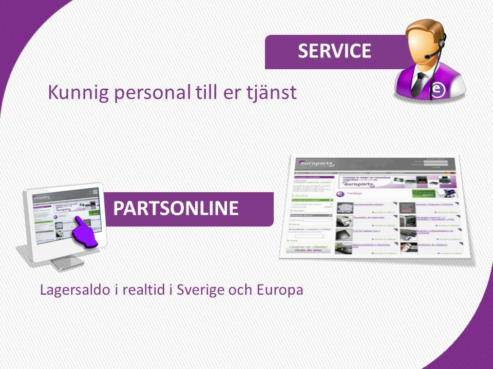 Kunnig personal till er tjänst Lagersaldo i realtid i Sverige och Europa SERVICE PARTSONLINE