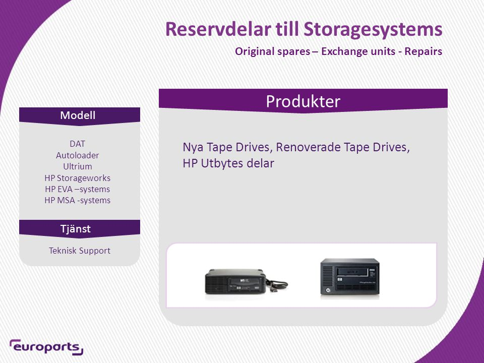 Reservdelar till Storagesystems Original spares – Exchange units - Repairs Modell Produkter Tjänst DAT Autoloader Ultrium HP Storageworks HP EVA –systems HP MSA -systems Nya Tape Drives, Renoverade Tape Drives, HP Utbytes delar Teknisk Support
