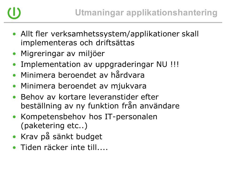 Utmaningar applikationshantering •Allt fler verksamhetssystem/applikationer skall implementeras och driftsättas •Migreringar av miljöer •Implementatio