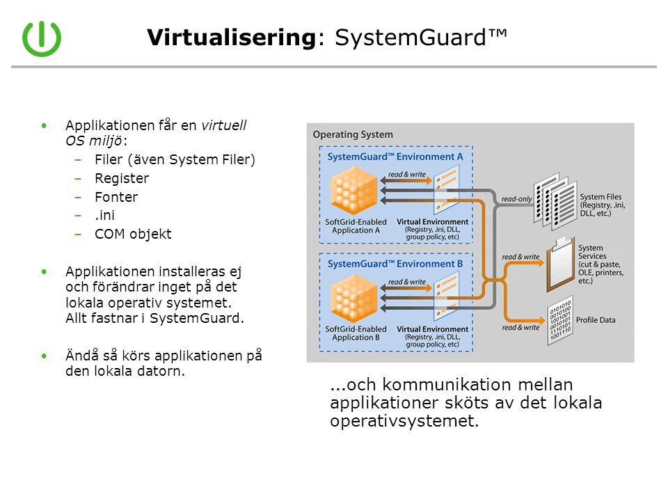Virtualisering: SystemGuard™ •Applikationen får en virtuell OS miljö: –Filer (även System Filer) –Register –Fonter –.ini –COM objekt •Applikationen in