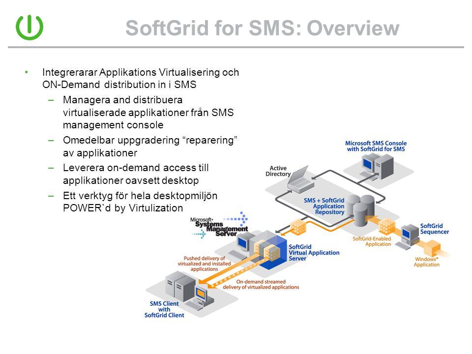 SoftGrid for SMS: Overview •Integrerarar Applikations Virtualisering och ON-Demand distribution in i SMS –Managera and distribuera virtualiserade appl