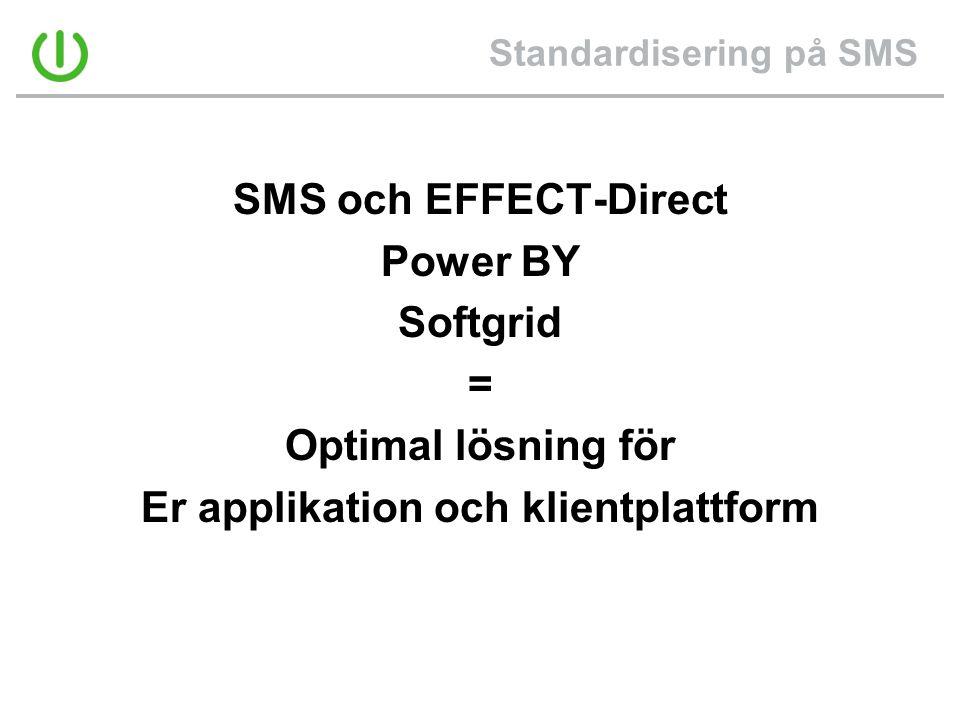 Standardisering på SMS SMS och EFFECT-Direct Power BY Softgrid = Optimal lösning för Er applikation och klientplattform