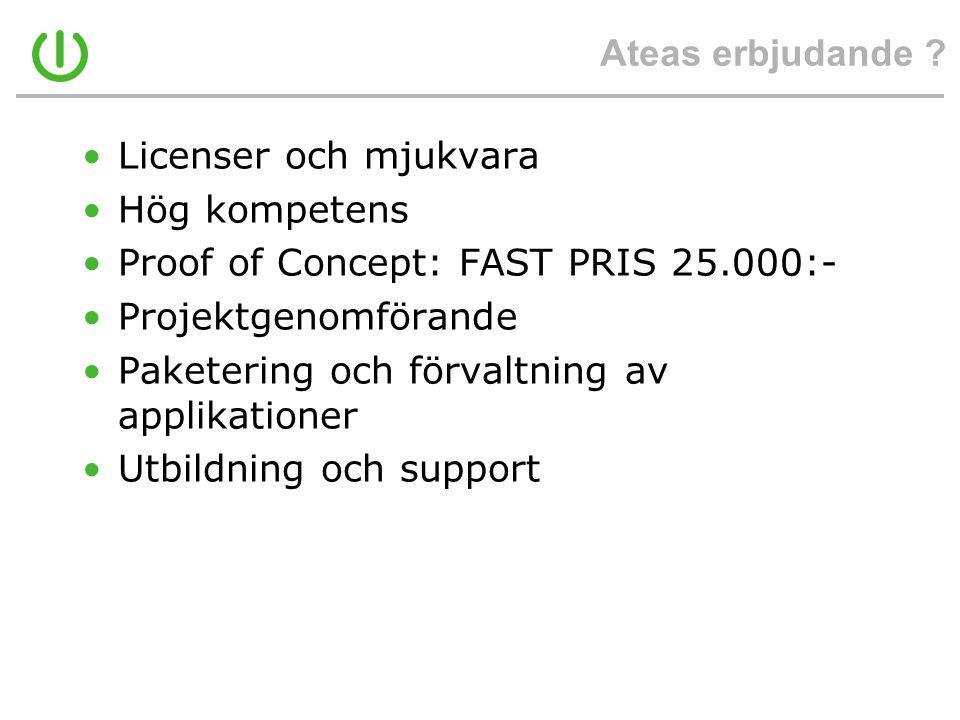 Ateas erbjudande ? •Licenser och mjukvara •Hög kompetens •Proof of Concept: FAST PRIS 25.000:- •Projektgenomförande •Paketering och förvaltning av app