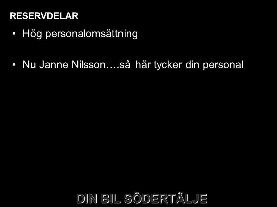 DIN BIL SÖDERTÄLJE RESERVDELAR •Hög personalomsättning •Nu Janne Nilsson….så här tycker din personal DIN BIL SÖDERTÄLJE