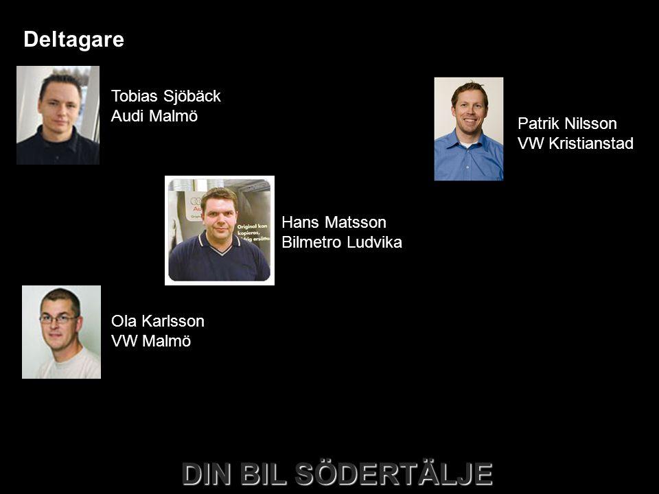 DIN BIL SÖDERTÄLJE Deltagare Tobias Sjöbäck Audi Malmö Ola Karlsson VW Malmö Håkan Pettersson Skoda Malmö Hans Matsson Bilmetro Ludvika Patrik Nilsson VW Kristianstad