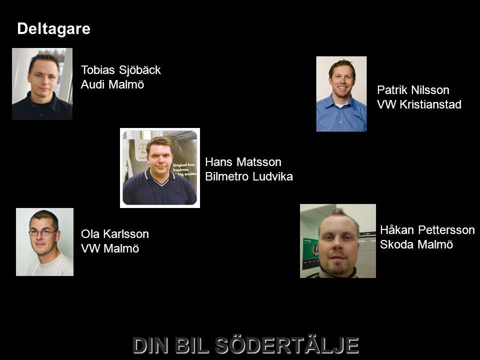 DIN BIL SÖDERTÄLJE Deltagare Tobias Sjöbäck Audi Malmö Ola Karlsson VW Malmö Håkan Pettersson Skoda Malmö Hans Matsson Bilmetro Ludvika Patrik Nilsson