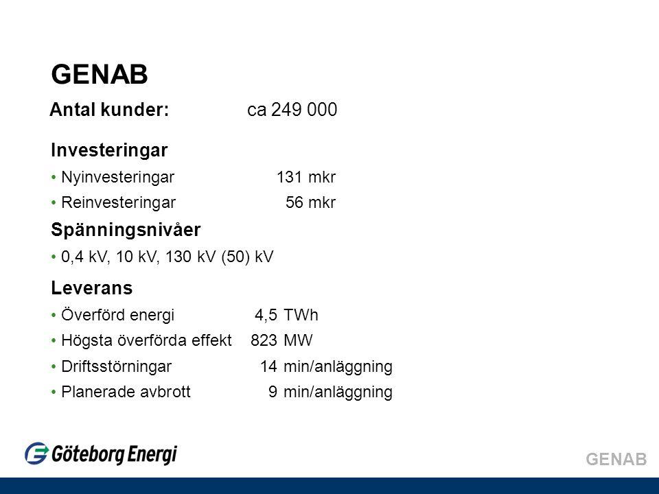 Antal kunder:ca 249 000 Leverans • Överförd energi 4,5TWh • Högsta överförda effekt 823MW • Driftsstörningar14 min/anläggning • Planerade avbrott9 min/anläggning Investeringar • Nyinvesteringar 131 mkr • Reinvesteringar56 mkr Spänningsnivåer • 0,4 kV, 10 kV, 130 kV (50) kV