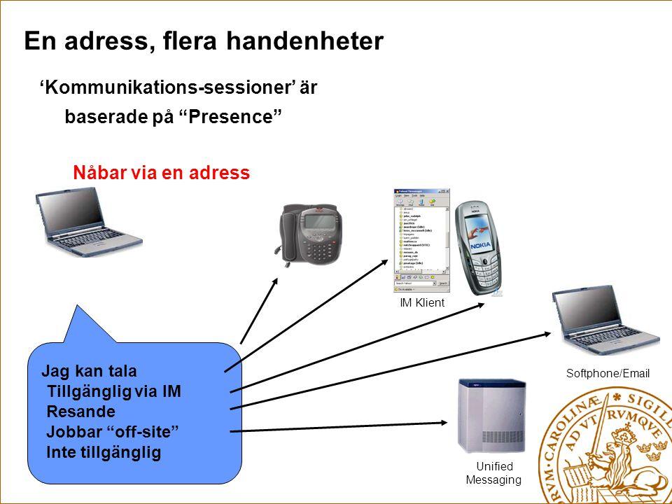 """Jag kan tala Tillgänglig via IM Resande Jobbar """"off-site"""" Inte tillgänglig En adress, flera handenheter Unified Messaging Softphone/Email IM Klient 'K"""