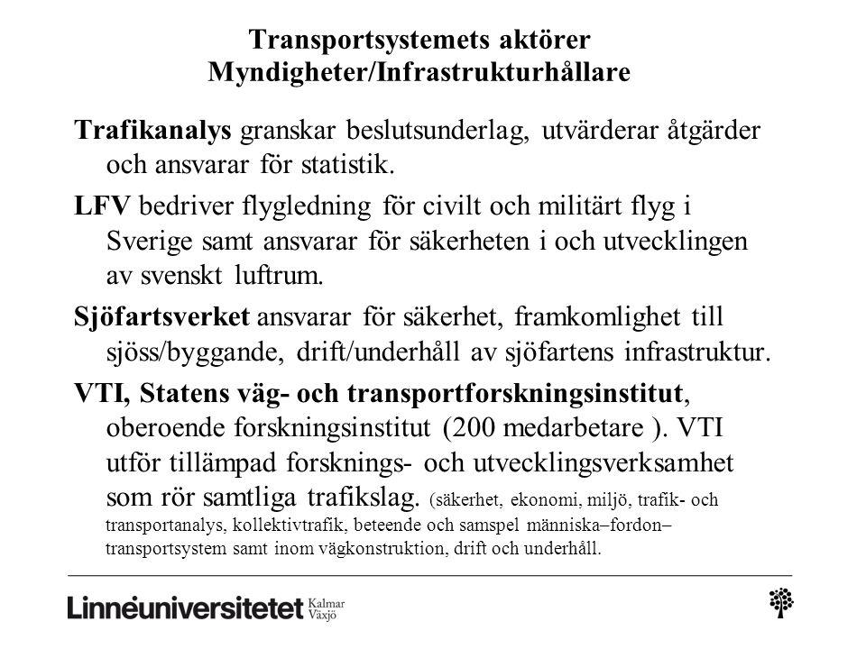 Transportsystemets aktörer Myndigheter/Infrastrukturhållare Trafikanalys granskar beslutsunderlag, utvärderar åtgärder och ansvarar för statistik. LFV