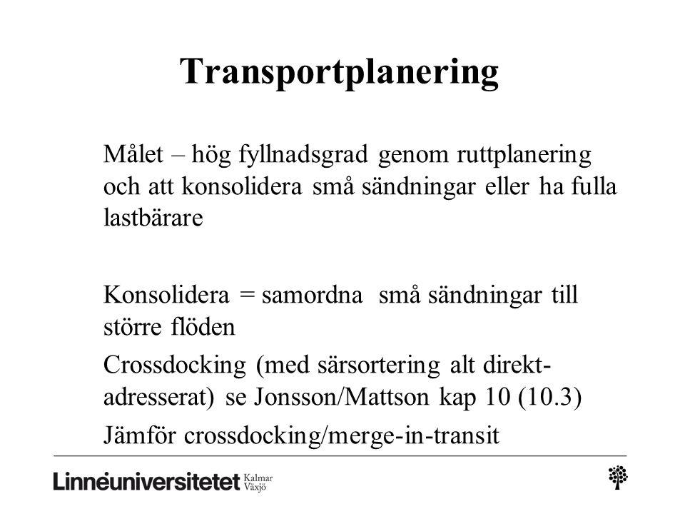 Transportplanering Målet – hög fyllnadsgrad genom ruttplanering och att konsolidera små sändningar eller ha fulla lastbärare Konsolidera = samordna sm