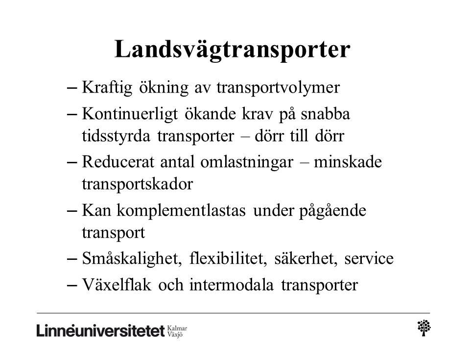 Landsvägtransporter – Kraftig ökning av transportvolymer – Kontinuerligt ökande krav på snabba tidsstyrda transporter – dörr till dörr – Reducerat ant