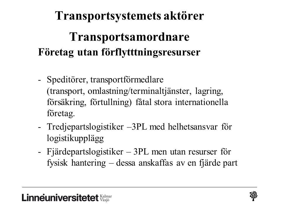 Transportsystemets aktörer Transportsamordnare Företag utan förflytttningsresurser -Speditörer, transportförmedlare (transport, omlastning/terminaltjä