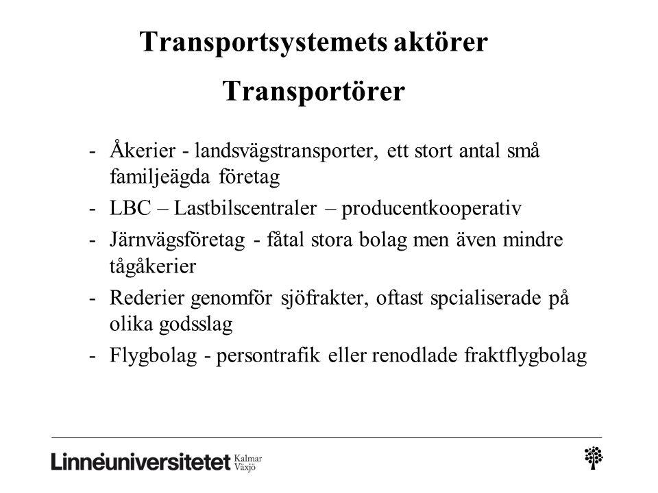 Transportsystemets aktörer Transportörer -Åkerier - landsvägstransporter, ett stort antal små familjeägda företag -LBC – Lastbilscentraler – producent