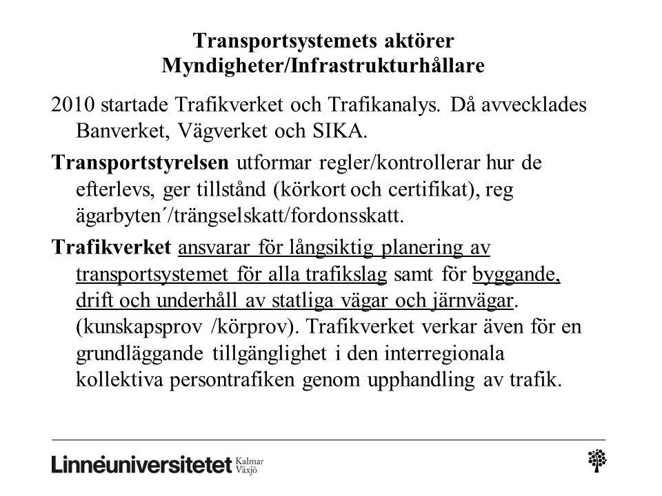 Transportsystemets aktörer Myndigheter/Infrastrukturhållare 2010 startade Trafikverket och Trafikanalys. Då avvecklades Banverket, Vägverket och SIKA.
