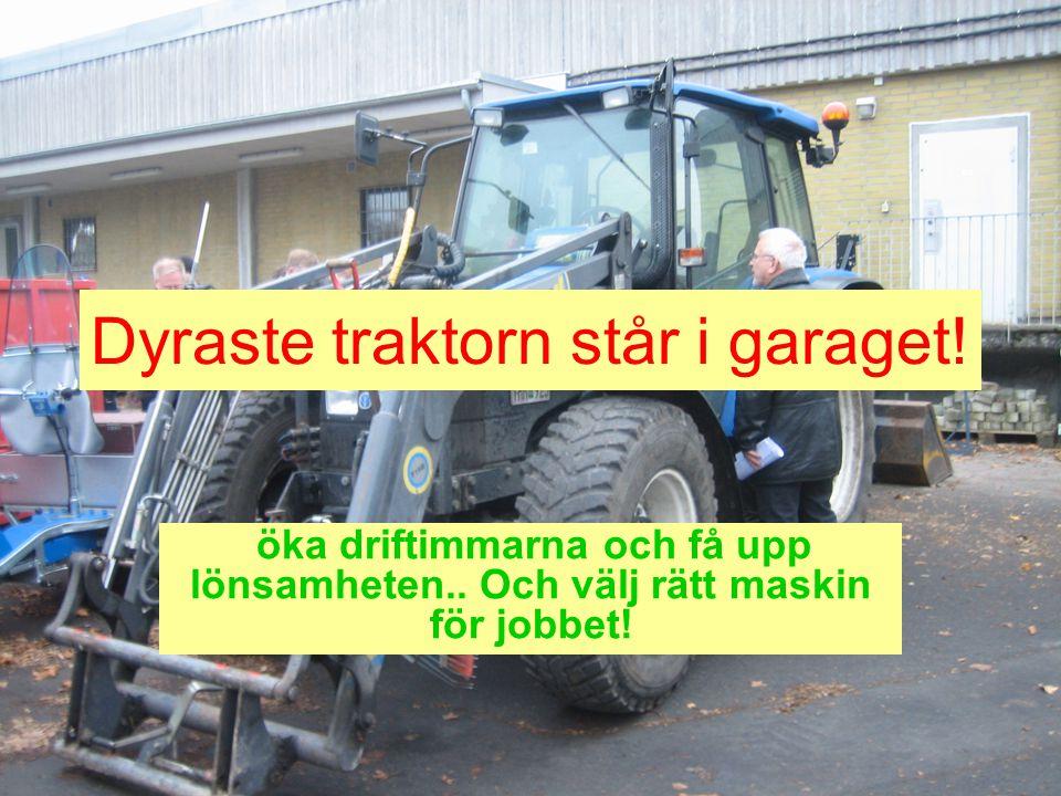 Dyraste traktorn står i garaget! öka driftimmarna och få upp lönsamheten.. Och välj rätt maskin för jobbet!
