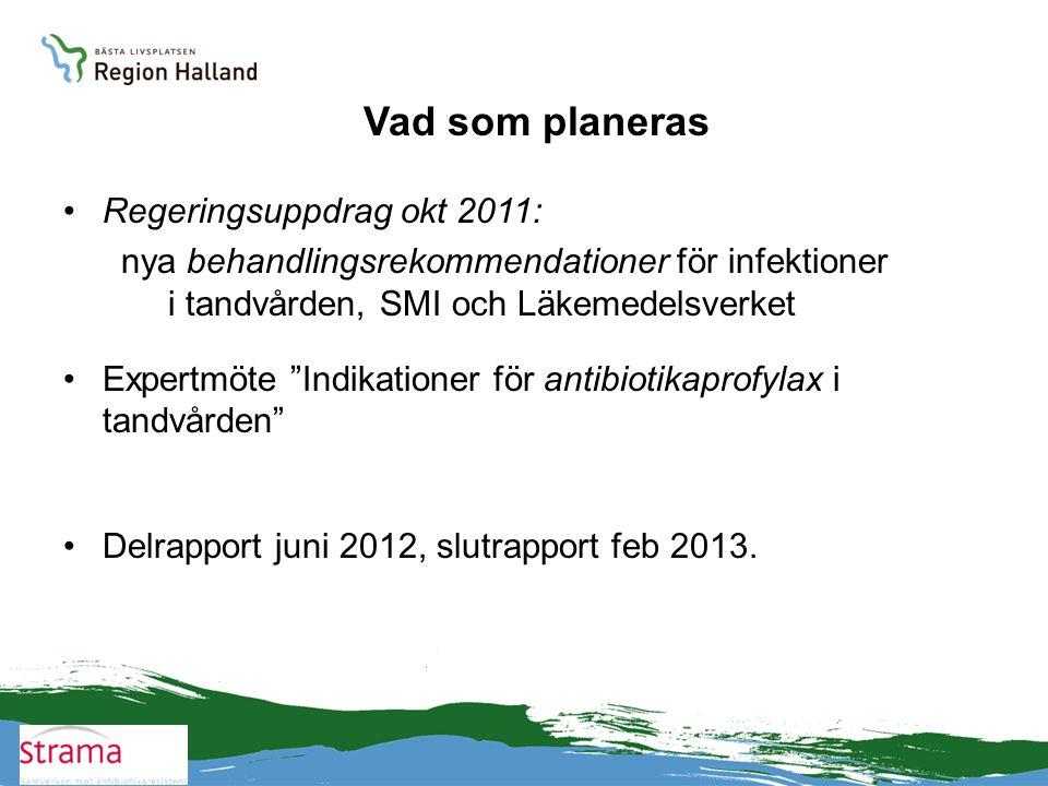 """Vad som planeras •Regeringsuppdrag okt 2011: nya behandlingsrekommendationer för infektioner i tandvården, SMI och Läkemedelsverket •Expertmöte """"Indik"""