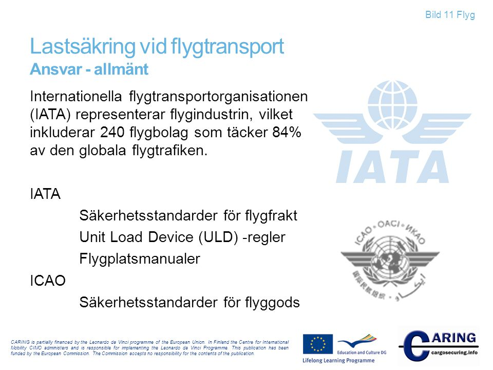 Bild 11 Flyg Lastsäkring vid flygtransport Ansvar - allmänt CARING is partially financed by the Leonardo da Vinci programme of the European Union.