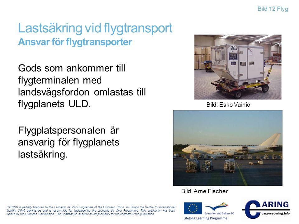 Bild 12 Flyg Lastsäkring vid flygtransport Ansvar för flygtransporter Gods som ankommer till flygterminalen med landsvägsfordon omlastas till flygplan