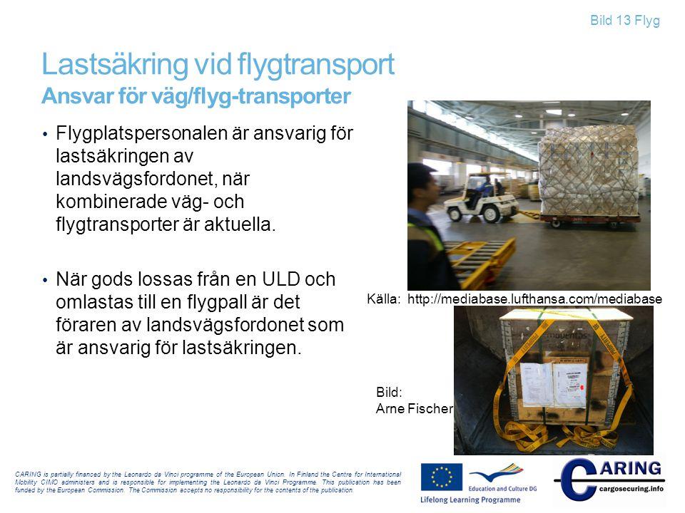 Bild 13 Flyg Lastsäkring vid flygtransport Ansvar för väg/flyg-transporter • Flygplatspersonalen är ansvarig för lastsäkringen av landsvägsfordonet, n