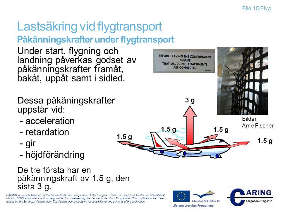 Bild 15 Flyg Lastsäkring vid flygtransport Påkänningskrafter under flygtransport Under start, flygning och landning påverkas godset av påkänningskraft