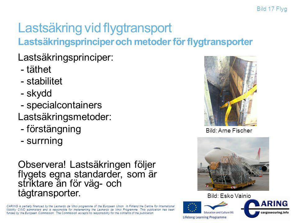 Bild 17 Flyg Lastsäkring vid flygtransport Lastsäkringsprinciper och metoder för flygtransporter Lastsäkringsprinciper: - täthet - stabilitet - skydd