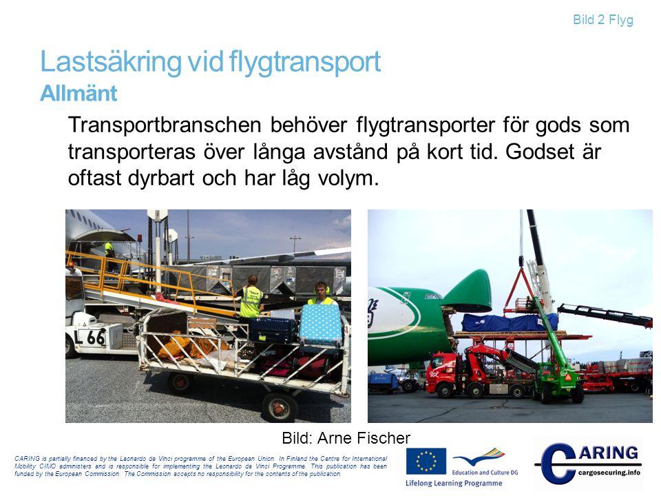 Bild 2 Flyg Lastsäkring vid flygtransport Allmänt Transportbranschen behöver flygtransporter för gods som transporteras över långa avstånd på kort tid