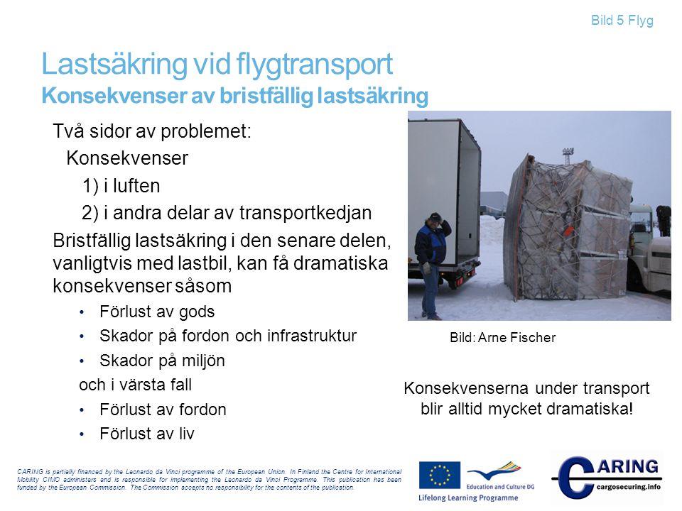 Bild 5 Flyg Lastsäkring vid flygtransport Konsekvenser av bristfällig lastsäkring Två sidor av problemet: Konsekvenser 1) i luften 2) i andra delar av