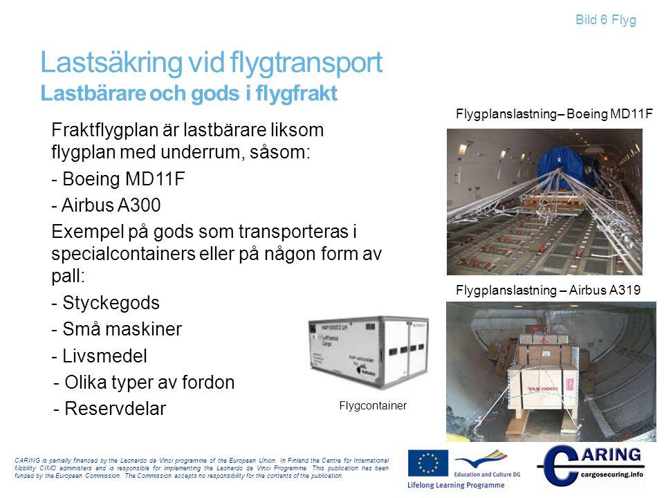 Bild 6 Flyg Fraktflygplan är lastbärare liksom flygplan med underrum, såsom: - Boeing MD11F - Airbus A300 Exempel på gods som transporteras i specialc