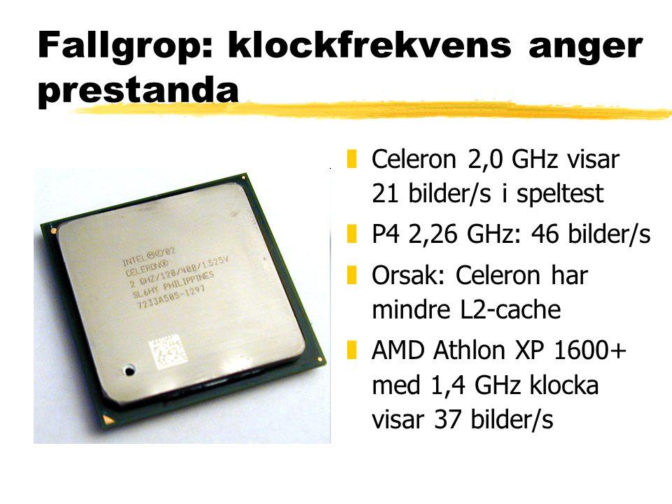 Fallgrop: klockfrekvens anger prestanda z Celeron 2,0 GHz visar 21 bilder/s i speltest z P4 2,26 GHz: 46 bilder/s z Orsak: Celeron har mindre L2-cache z AMD Athlon XP 1600+ med 1,4 GHz klocka visar 37 bilder/s