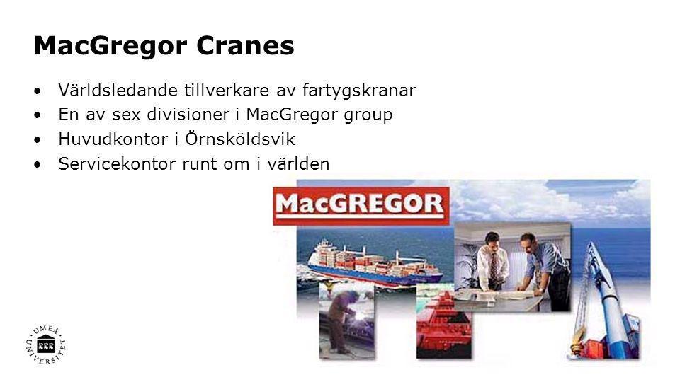 MacGregor Cranes •Världsledande tillverkare av fartygskranar •En av sex divisioner i MacGregor group •Huvudkontor i Örnsköldsvik •Servicekontor runt o
