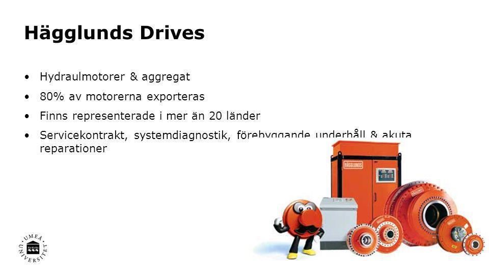 Hägglunds Drives •Hydraulmotorer & aggregat •80% av motorerna exporteras •Finns representerade i mer än 20 länder •Servicekontrakt, systemdiagnostik,