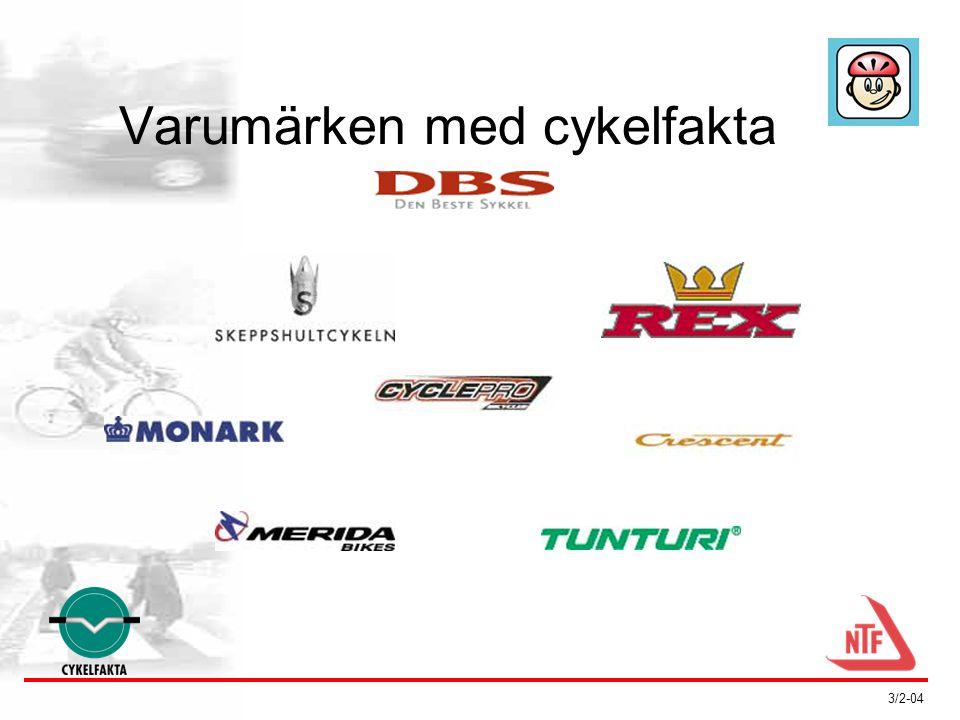 3/2-04 Cykelfakta förutsätter att: •Cykeln med komponenter klarar provningarna •Reglerna för Cykelfakta följs: –cykeln säljs slutmonterad och justerad –köparen får en säkerhetsgenomgång –säljaren kan tillhandahålla service/reservdelar •Cykeln klarar SMPs löpande stickprovskontroller