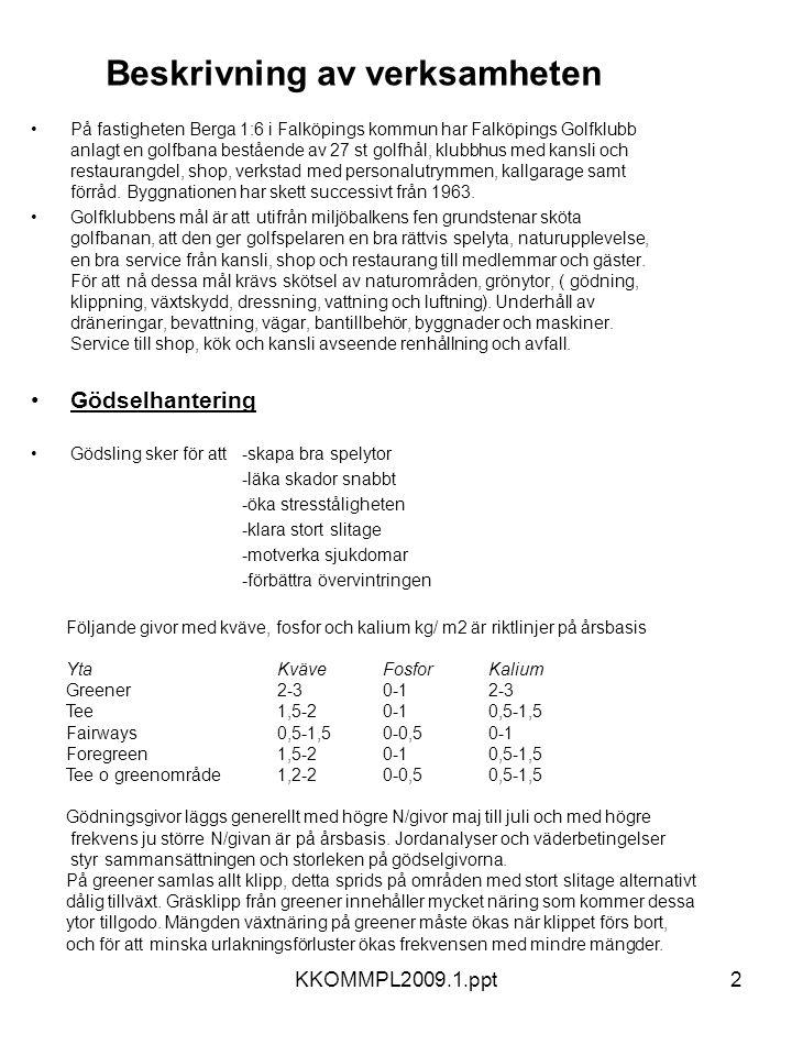 KKOMMPL2009.1.ppt2 Beskrivning av verksamheten •På fastigheten Berga 1:6 i Falköpings kommun har Falköpings Golfklubb anlagt en golfbana bestående av