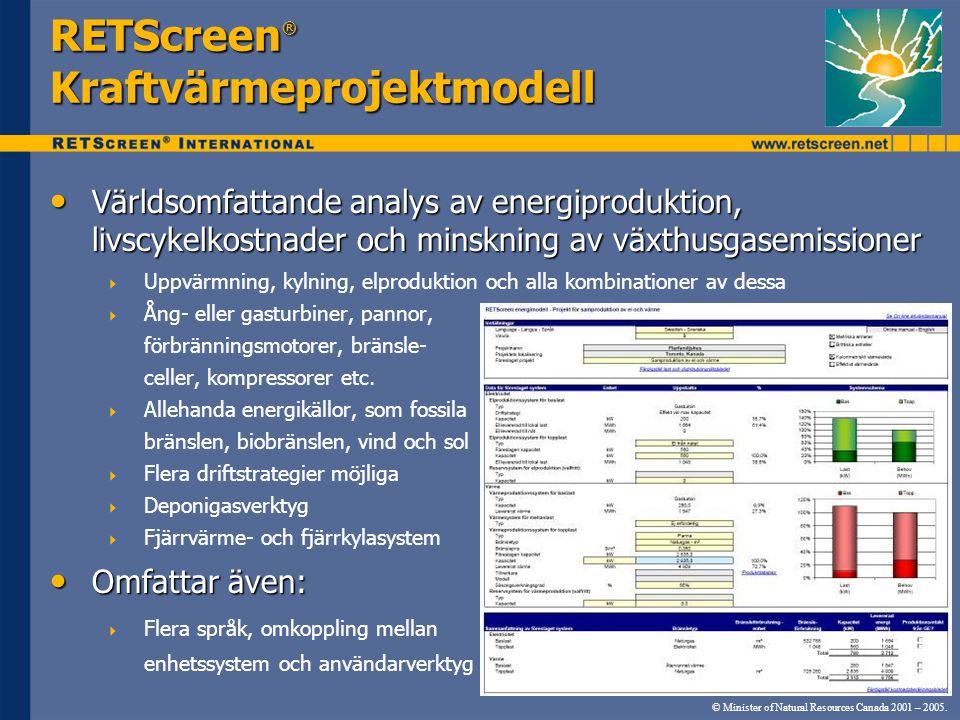 © Minister of Natural Resources Canada 2001 – 2005. RETScreen ® Kraftvärmeprojektmodell • Världsomfattande analys av energiproduktion, livscykelkostna