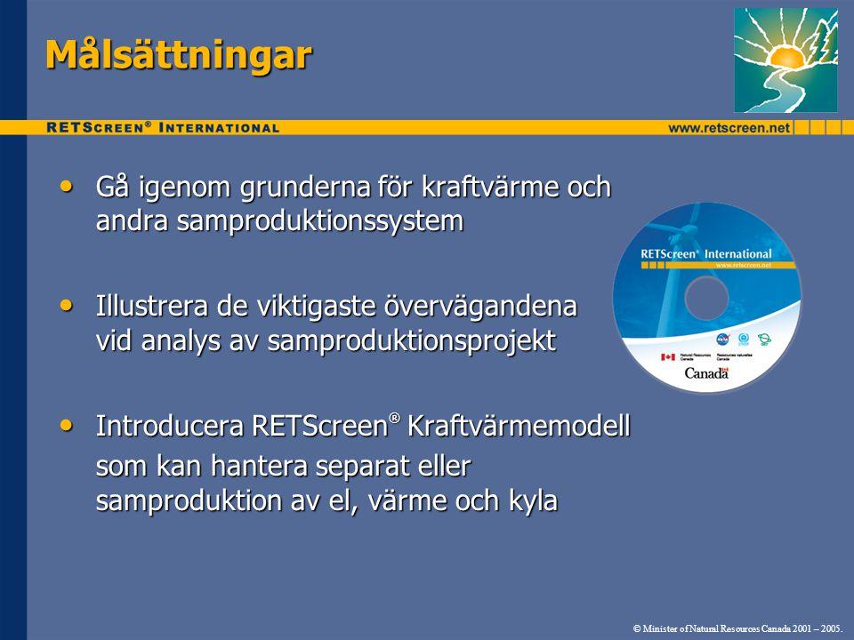 © Minister of Natural Resources Canada 2001 – 2005. Målsättningar • Gå igenom grunderna för kraftvärme och andra samproduktionssystem • Illustrera de