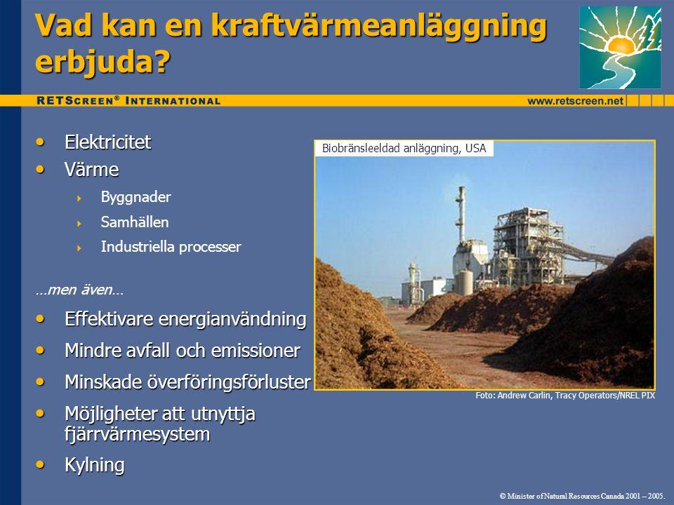 © Minister of Natural Resources Canada 2001 – 2005. • Elektricitet • Värme  Byggnader  Samhällen  Industriella processer …men även… • Effektivare e