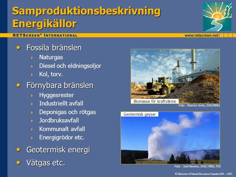 © Minister of Natural Resources Canada 2001 – 2005. Samproduktionsbeskrivning Energikällor • Fossila bränslen  Naturgas  Diesel och eldningsoljor 