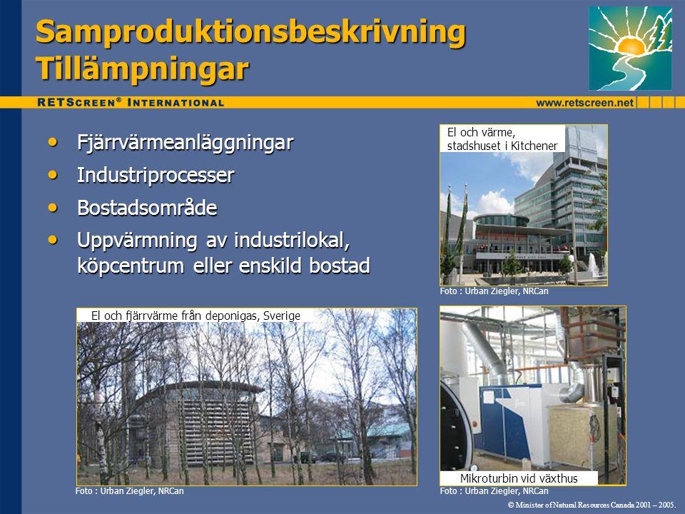 © Minister of Natural Resources Canada 2001 – 2005. SamproduktionsbeskrivningTillämpningar • Fjärrvärmeanläggningar • Industriprocesser • Bostadsområd
