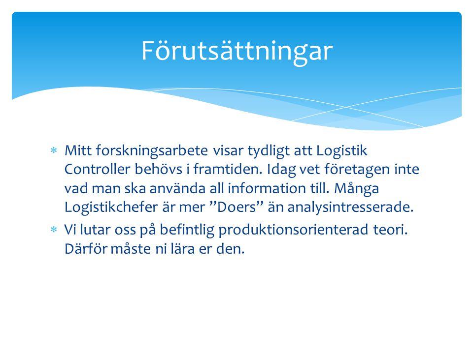  Mitt forskningsarbete visar tydligt att Logistik Controller behövs i framtiden.