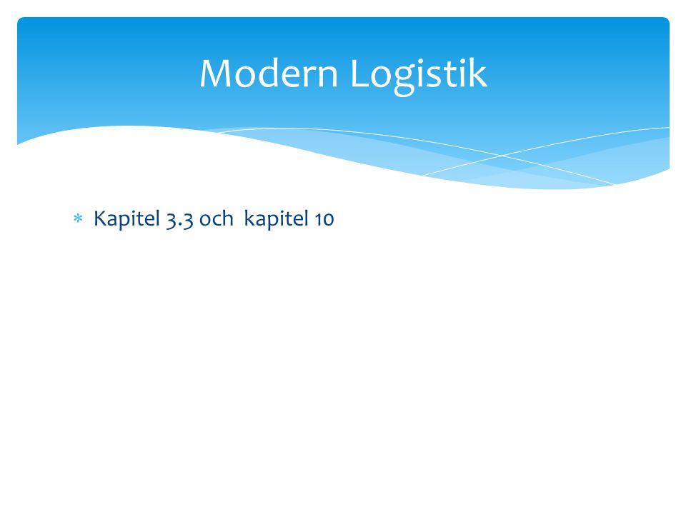  Kapitel 3.3 och kapitel 10 Modern Logistik