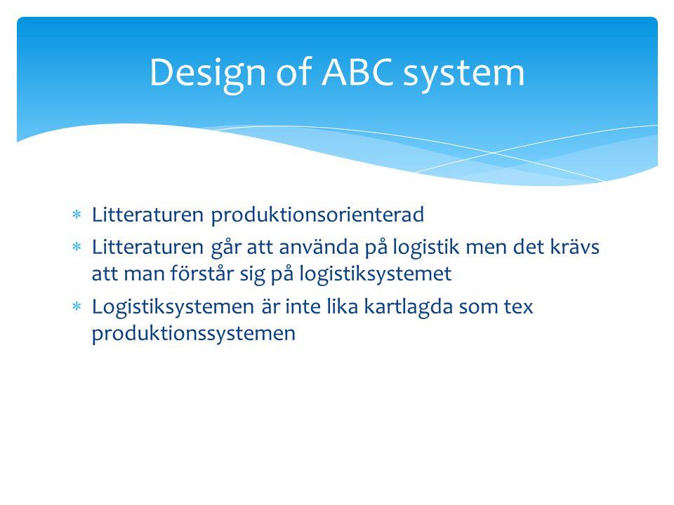  Litteraturen produktionsorienterad  Litteraturen går att använda på logistik men det krävs att man förstår sig på logistiksystemet  Logistiksystemen är inte lika kartlagda som tex produktionssystemen Design of ABC system