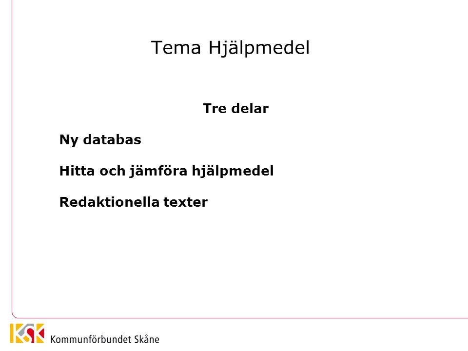 Tema Hjälpmedel Tre delar Ny databas Hitta och jämföra hjälpmedel Redaktionella texter