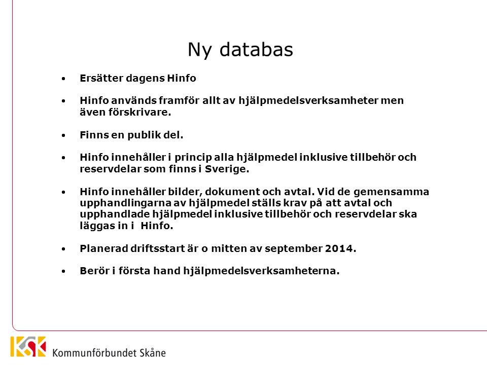 Ny databas Ersätter dagens Hinfo Hinfo används framför allt av hjälpmedelsverksamheter men även förskrivare. Finns en publik del. Hinfo innehåller