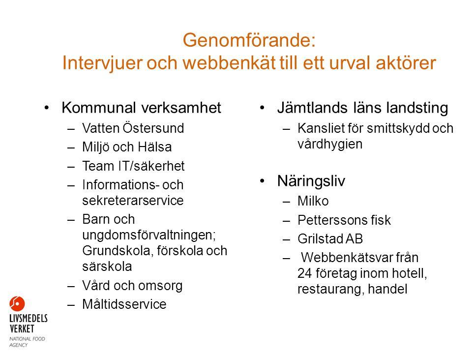 Genomförande: Intervjuer och webbenkät till ett urval aktörer •Kommunal verksamhet –Vatten Östersund –Miljö och Hälsa –Team IT/säkerhet –Informations-