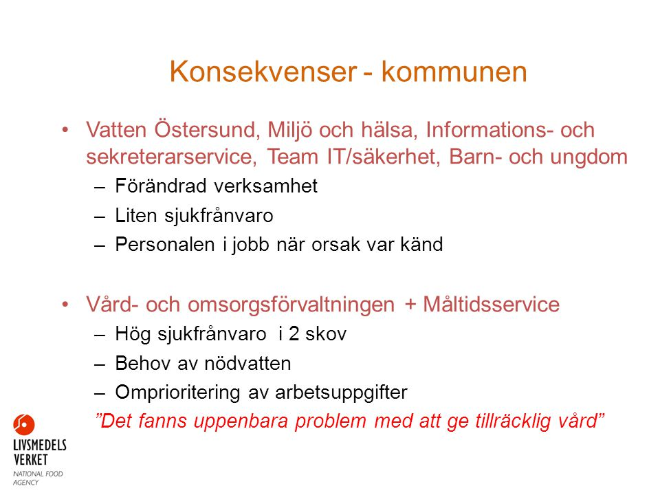 •Vatten Östersund, Miljö och hälsa, Informations- och sekreterarservice, Team IT/säkerhet, Barn- och ungdom –Förändrad verksamhet –Liten sjukfrånvaro
