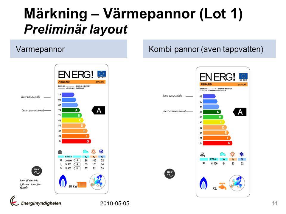 2010-05-0511 Märkning – Värmepannor (Lot 1) Preliminär layout VärmepannorKombi-pannor (även tappvatten)