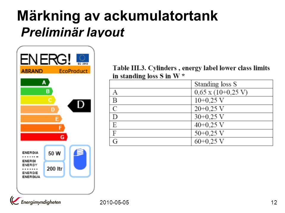2010-05-0512 Märkning av ackumulatortank Preliminär layout