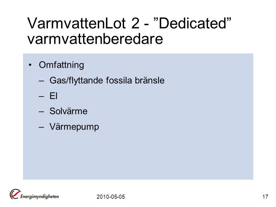 """2010-05-0517 VarmvattenLot 2 - """"Dedicated"""" varmvattenberedare •Omfattning –Gas/flyttande fossila bränsle –El –Solvärme –Värmepump"""