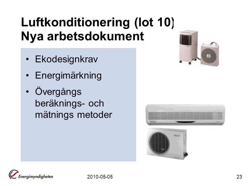 2010-05-0523 Luftkonditionering (lot 10) Nya arbetsdokument •Ekodesignkrav •Energimärkning •Övergångs beräknings- och mätnings metoder